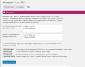 Impostare gli RSS Yoast SEO