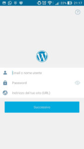 Aggiungere sito self-hosted su App WordPress