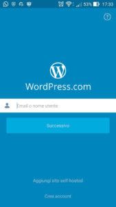 Schermata iniziale App WordPress