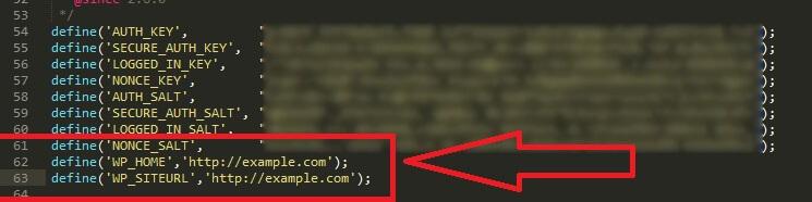 Aggiunta del codice nel file wp-config.php
