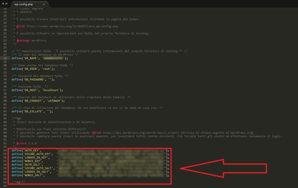 Modifica file wp-config.php